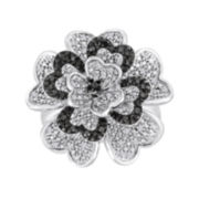 1/3 CT. T.W. White and Color-Enhanced Black Diamond Sterling Silver Flower Ring