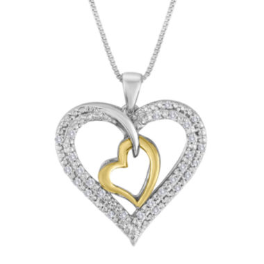 jcpenney.com | 1/5 CT. T.W. Diamond Two-Tone Double Heart Pendant Necklace