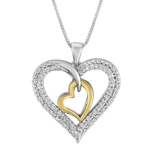 1/5 CT. T.W. Diamond Two-Tone Double Heart Pendant Necklace