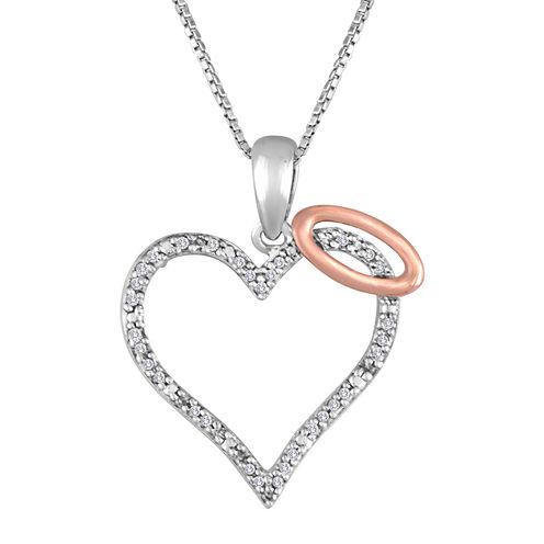 1/10 CT. T.W. Diamond Sterling Silver Halo Heart Pendant Necklace