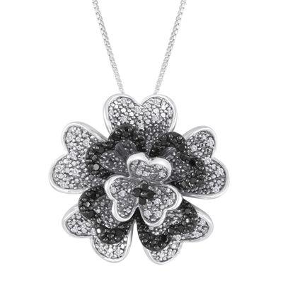 13 ct tw white and color enhanced black diamond sterling silver tw white and color enhanced black diamond sterling silver flower aloadofball Choice Image