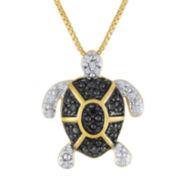 1/10 CT. T.W. White and Color-Enhanced Black Diamond Turtle Pendant Necklace
