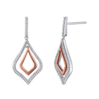 jcpenney.com | 1/5 CT. T.W. Diamond Sterling Silver and Rose Gold Drop Earrings