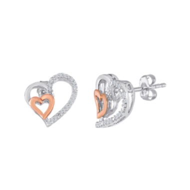 jcpenney.com | 1/10 CT. T.W. Diamond Sterling Silver and Rose Gold Double-Heart Earrings