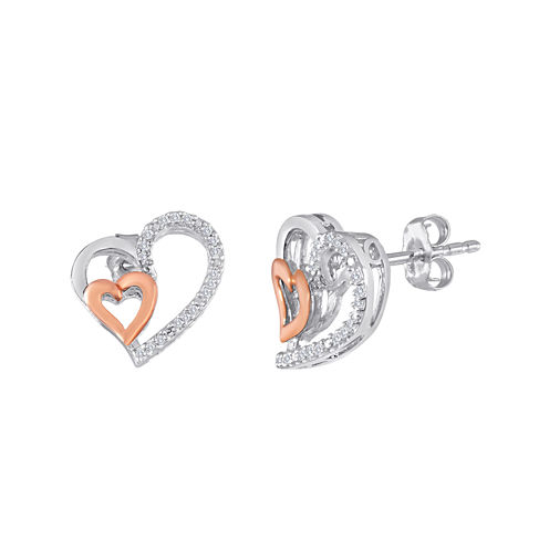 1/10 CT. T.W. Diamond Sterling Silver and Rose Gold Double-Heart Earrings