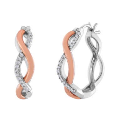 jcpenney.com | 1/8 CT. T.W. Diamond Sterling Silver and Rose Gold Twisted Hoop Earrings