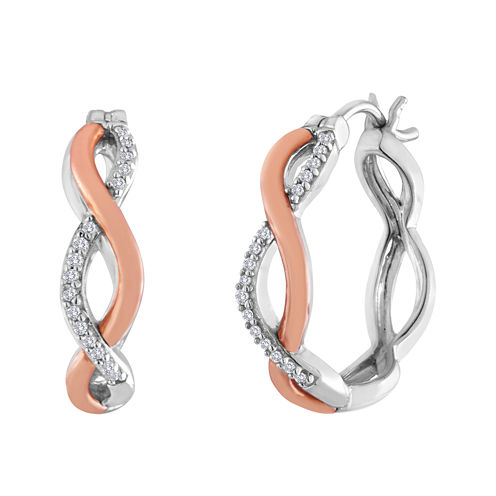 1/8 CT. T.W. Diamond Sterling Silver and Rose Gold Twisted Hoop Earrings