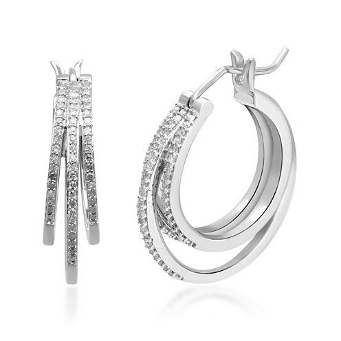 1/4 CT. T.W. Diamond Sterling Silver Triple-Hoop Earrings