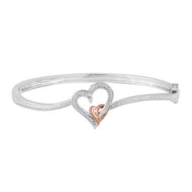 jcpenney.com | 1/10 CT. T.W. Diamond 14K Rose Gold Over Brass Heart Bangle Bracelet