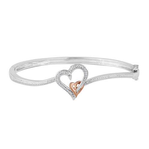 1/10 CT. T.W. Diamond 14K Rose Gold Over Brass Heart Bangle Bracelet