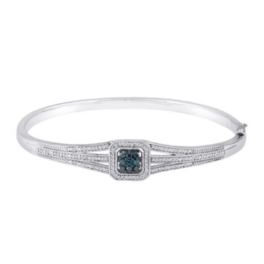 jcpenney.com | 1/10 CT. T.W. White and Color-Enhanced Blue Diamond Sterling Silver Bangle Bracelet