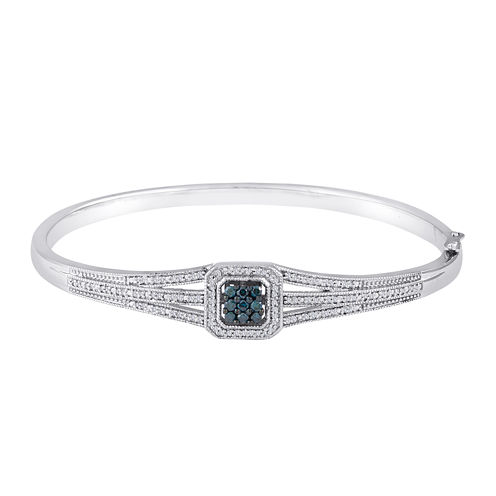 1/10 CT. T.W. White and Color-Enhanced Blue Diamond Sterling Silver Bangle Bracelet
