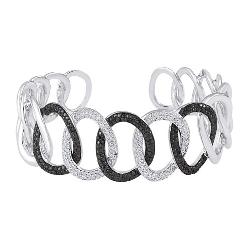1 CT. T.W. White and Color-Enhanced Black Diamond Sterling Silver Cuff Bracelet