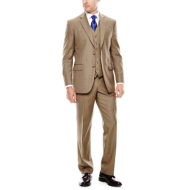Stafford® Travel Brown Sharkskin Suit Separates - Classic Fit ...