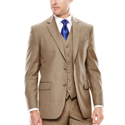 Stafford® Travel Brown Sharkskin Suit Jacket - Classic Fit