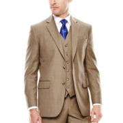 Stafford® Travel Brown Sharkskin Suit Jacket - Slim Fit