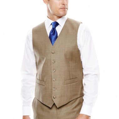 Stafford® Travel Brown Sharkskin Suit Vest - Classic Fit - JCPenney