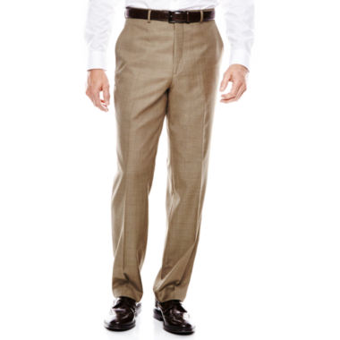 jcpenney.com | Stafford® Travel Brown Sharkskin Flat-Front Suit Pants - Classic Fit