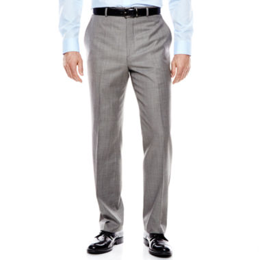 jcpenney.com | Stafford® Travel Gray Sharkskin Flat-Front Suit Pants - Classic Fit