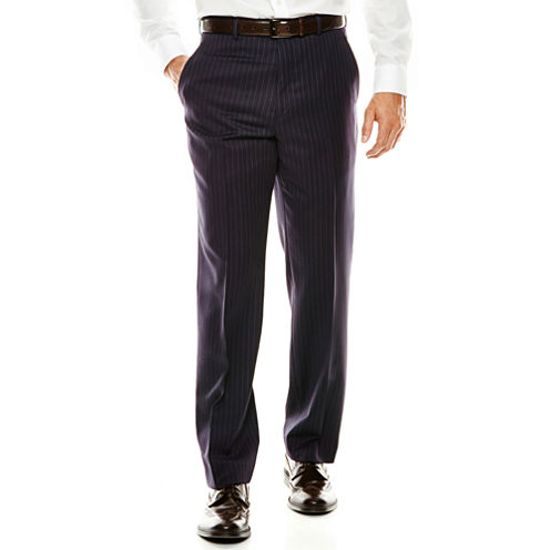 Stafford® Executive 100s Wool Navy Stripe Suit Pants - Classic Fit