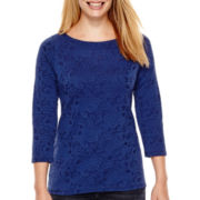 St. John's Bay® 3/4-Sleeve Paisley Print Textured Knit Top - Petite