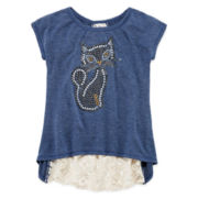 Beautees Lace Split-Back Tee - Girls 7-16 and Plus