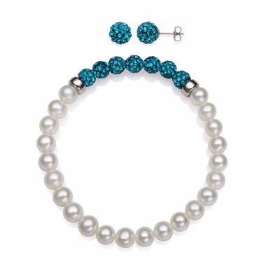jcpenney.com | Cultured Freshwater Pearl & Teal Lab Created Crystal Bead Sterling Silver Jewelry Set