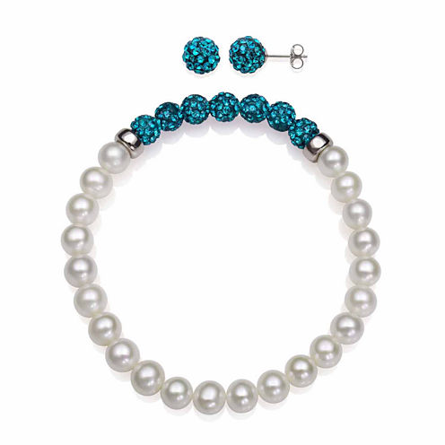 Cultured Freshwater Pearl & Teal Lab Created Crystal Bead Sterling Silver Jewelry Set