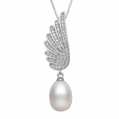 jcpenney.com | Cultured Freshwater Pearl & Lab Created Cubic Zirconia Sterling Silver Pendant Necklace