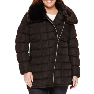 jcpenney.com | a.n.a® Asymmetrical Zip Puffer Jacket - Plus