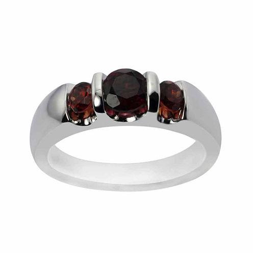 Sterling Silver Genuine Garnet Three Stone Ring