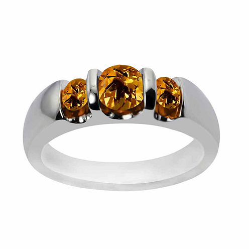 Sterling Silver Genuine Citrine Three Stone Ring