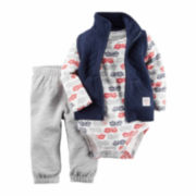 Carter's boy navy firetruck 3pc vest set nb-24m