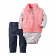 Carter's® Pink Floral 3-pc. Vest Set - Baby Girls newborn-24m