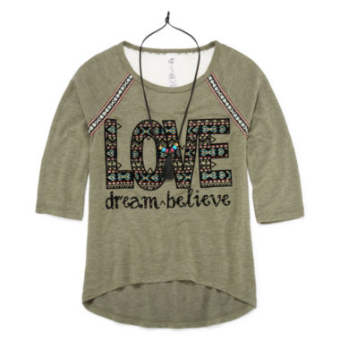 jcpenney.com | Beautees 3/4-Sleeve High-Low Graphic Top with Necklace - Girl's 7-16