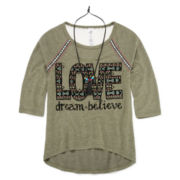 Beautees 3/4-Sleeve High-Low Graphic Top with Necklace - Girl's 7-16