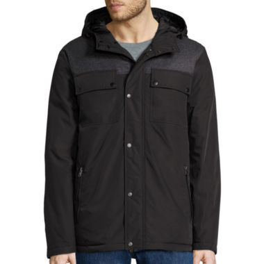jcpenney.com | Claiborne® Hooded Mixed Media Puffer Jacket