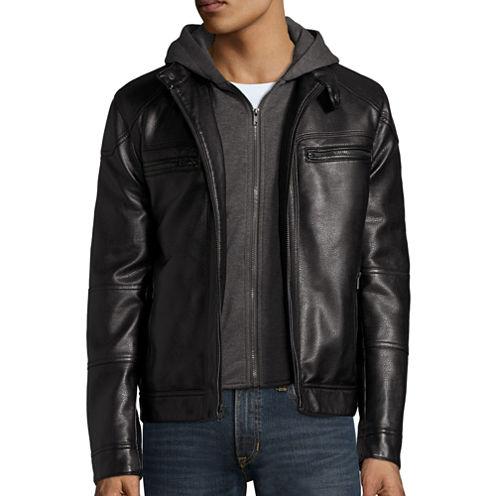 Arizona Long-Sleeve Faux-Leather Hooded Racer Jacket