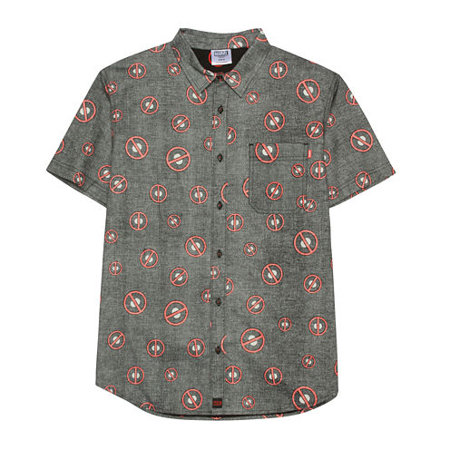Deadpool Toss Pattern Short-Sleeve Button-Front Shirt