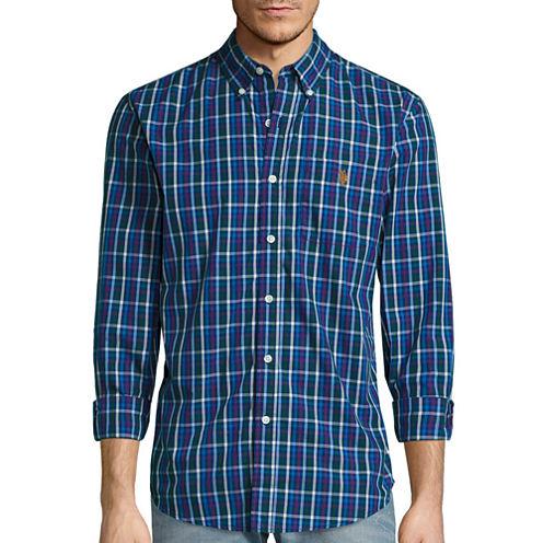 U.S. Polo Assn.® Long-Sleeve Slim-Fit Plaid Poplin Sportshirt