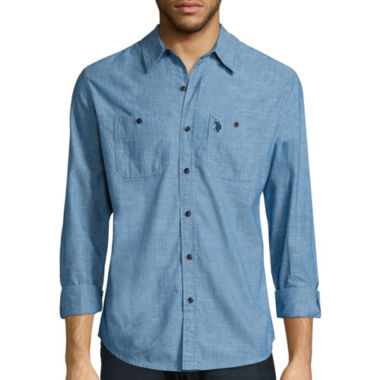 jcpenney.com | U.S. Polo Assn.® Long-Sleeve Slim-Fit Chambray Shirt