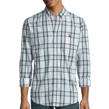 jcpenney.com | U.S. Polo Assn.® Long-Sleeve Plaid Poplin Sportshirt