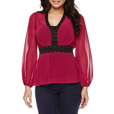 jcpenney.com | Bisou Bisou® Studded Peplum Top