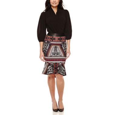 jcpenney.com | Bisou Bisou® Long-Sleeve Twist-Front Bodysuit or Flounce Pencil Skirt