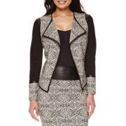 Bisou Bisou® Draped Faux-Leather Trim Jacket