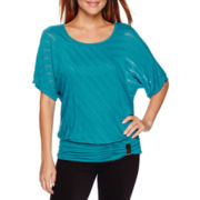 Alyx® 3/4-Sleeve Shadow-Stripe Dolman Top - Petite
