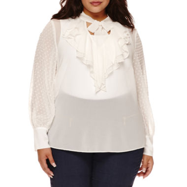jcpenney.com | Bisou Bisou® Long-Sleeve Ruffle Tie-Neck Blouse - Plus