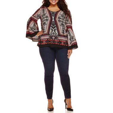 jcpenney.com | Bisou Bisou® Long-Sleeve Tiered Flare Top or Double-Stack Denim Pants - Plus