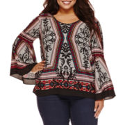 Bisou Bisou® Long-Sleeve Tiered Flare Top - Plus