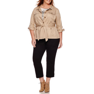 jcpenney.com | Liz Claiborne® Safari Jacket, Button-Back Blouse & Cargo Cropped Pants - Plus